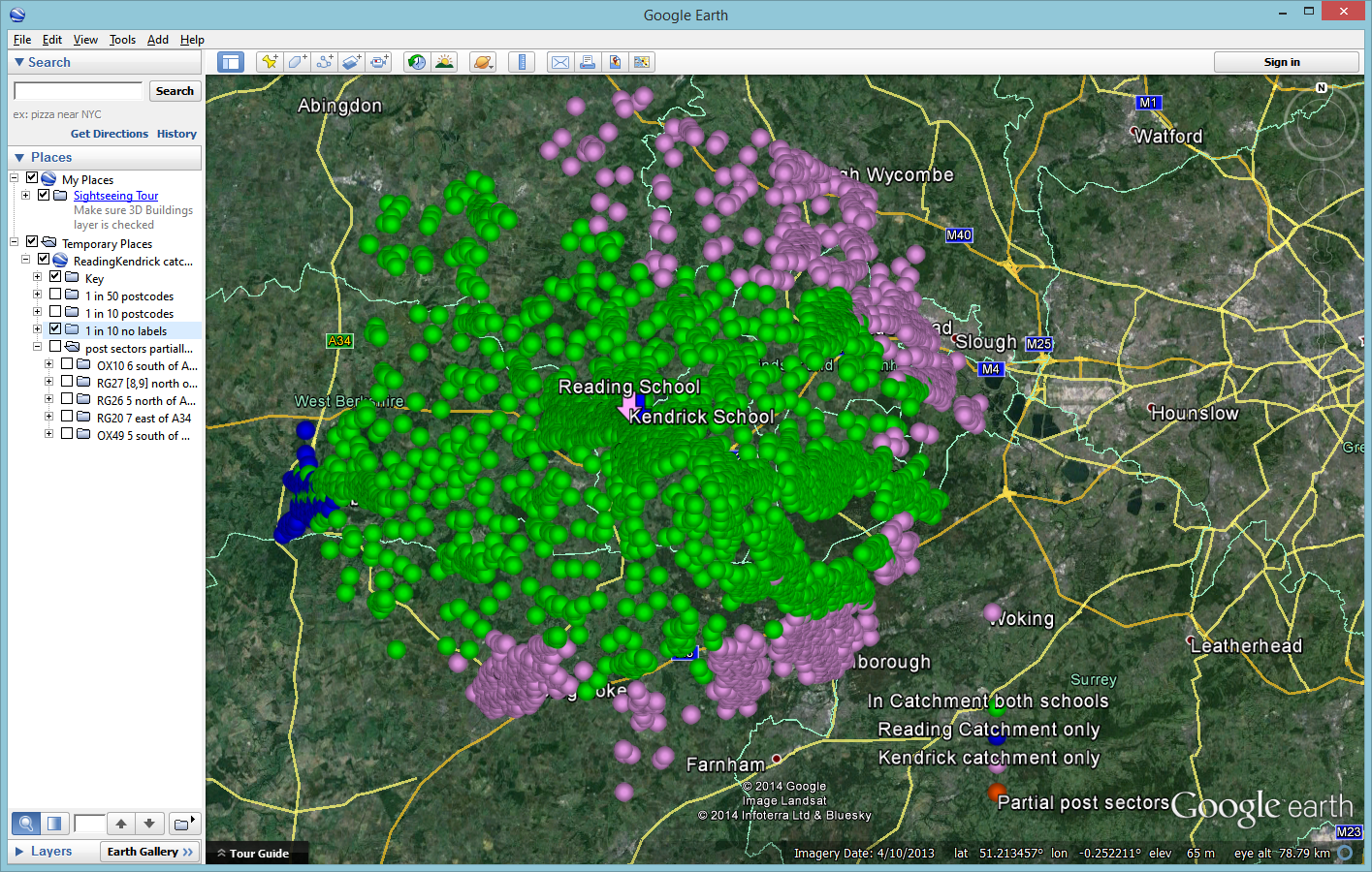 R&K catchments in Google Earth